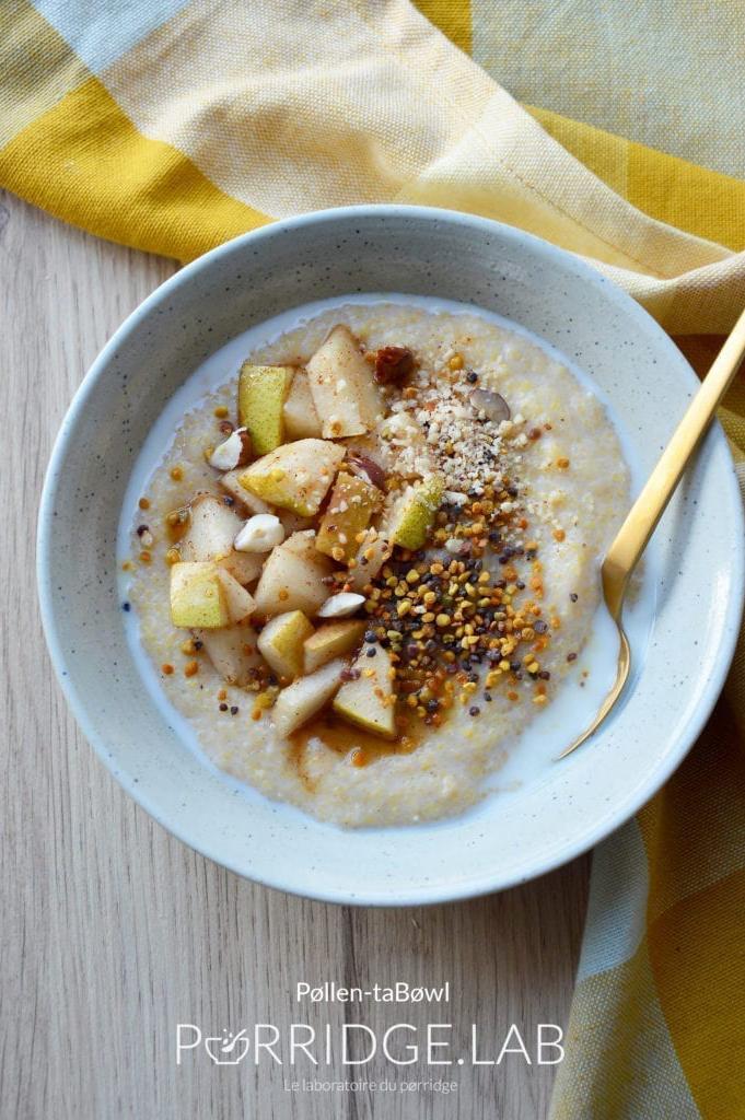 Pollen-taBøwl – Porridge de polenta et pollen de fleur