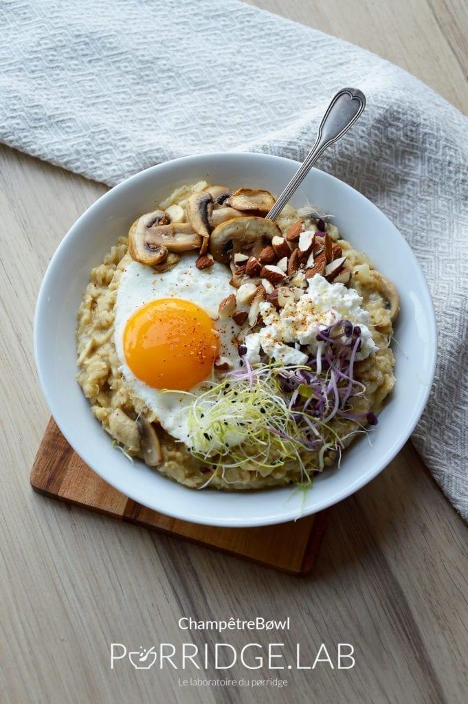 Champêtre Bøwl – Porridge salé aux champignons facile à préparer